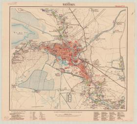 古地图1903 天津市区图 中英文版。纸本大小96.64*106.14厘米。宣纸艺术微喷复制。