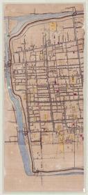 古地图1900 苏州市手稿地图。 三联。尺寸分别为88.52*194.61厘米+86.31*195.11厘米+86.87*147.94厘米。宣纸艺术微喷复制。