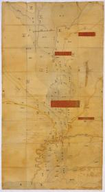 古地图1901 谨绘大清东西淀竝下口河图 。纸本大小50.2*91.55厘米。宣纸艺术微喷复制。
