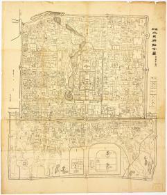 古地图1908 最新北京精细全图光绪三十四年印 京都大学。纸本大小70.1*81.18厘米。宣纸艺术微喷复制。