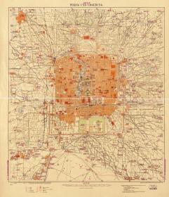 古地图1907 北京及周边地区 光绪二十六年。纸本大小74.27*86.17厘米。宣纸艺术微喷复制