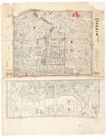 古地图1908 最新北京精细全图光绪三十四年印-京都大学。纸本大小76.82*98.08厘米。宣纸艺术微喷复制。