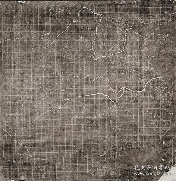 复制版1136《禹迹图》陕西西安碑林博物馆收藏有一块奇特的方形石板。石板两面都刻有地图,一面为正刻的《禹迹图》,另一面为倒置的《华夷图》。图中注记显示,这两幅地图均于伪齐阜昌七年(1136)刻石,《禹迹图》于四月上石,比《华夷图》早六个月。