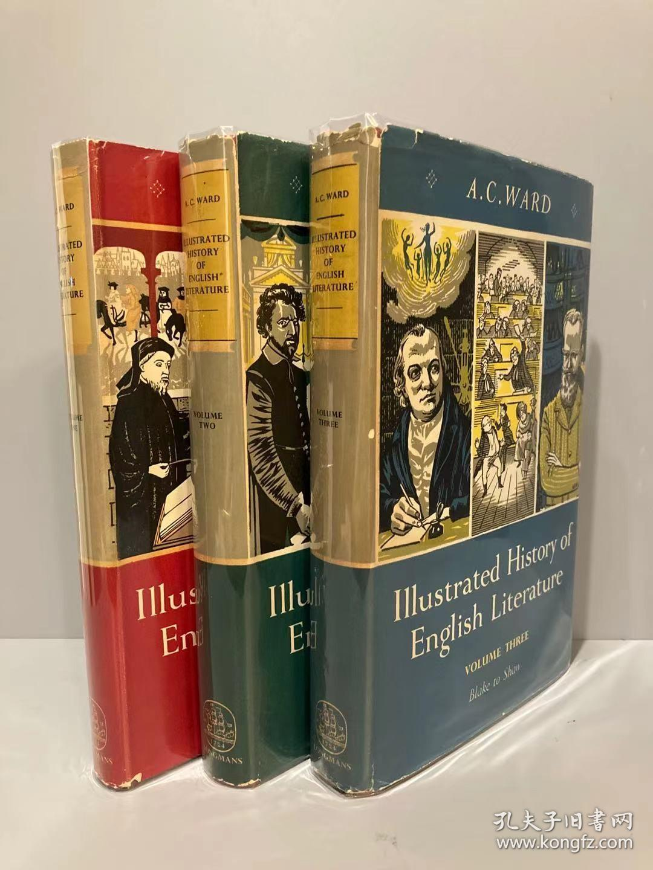 Illustrated History of English Literature(A.C.沃德《插图英国文学史》三卷全,布面精装,带护封,1953年老版书,难得好品相)
