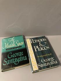 Autobiography of George Santayana(《桑塔耶纳自传》两册,Person & Places和The Middle Span,布面精装带护封,老版书,贴有藏书票)