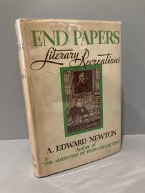 End Papers(爱德华·纽顿《蝴蝶页》,配插图,布面精装,毛边,难得带护封,1933年初版,品相好)