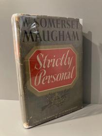 Strictly Personal(毛姆《纯属私事》,难得带护封,布面精装毛边本,1941年美国初版)