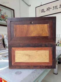 清代香樟木杂物盒,框皆花梨木,装芯儿板子香樟木