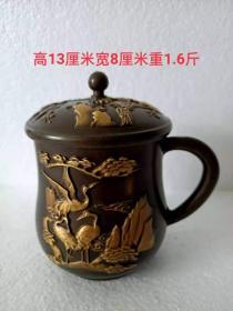 文革紫铜鎏金茶缸