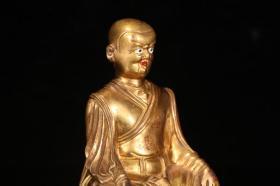 旧藏,铜鎏金上师造像,