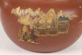 旧藏 老紫砂描金山水诗文纹茶壶、