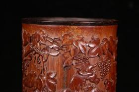 旧藏 老竹雕瑞兽葡萄纹笔筒,