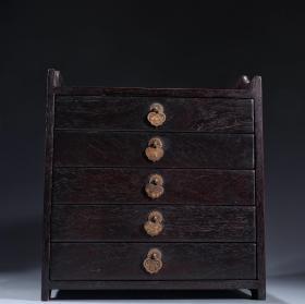 晚清民国 紫檀木镶铜五层文房柜