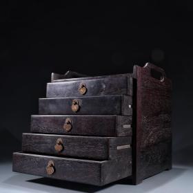紫檀木镶铜五层文房柜
