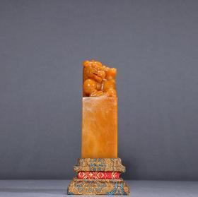 回流 寿山田黄石母子兽钮印章