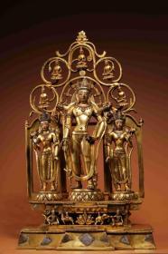 铜鎏金持莲观音三联像