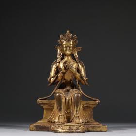 铜鎏金观音坐像