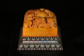 旧藏,田黄九狮戏珠印章