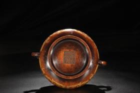 精铸铜胎鎏金夔龙纹压经耳炉