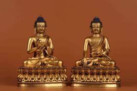 铜鎏金五方佛坐像