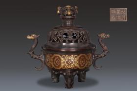 明 精铸铜胎缠枝花卉纹三足螭龙耳熏炉