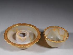 老玛瑙包银鎏金杯盏