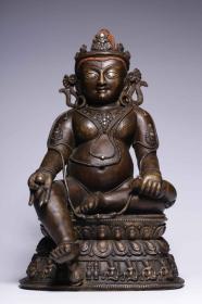 铜嵌银黄财神坐像
