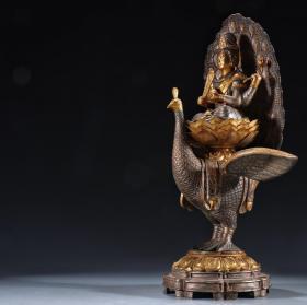 铜鎏金坐莲四臂观音可拆卸式造像