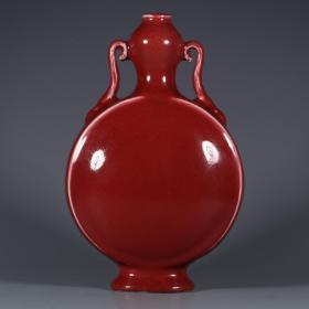 清乾隆年间郎红釉扁瓶