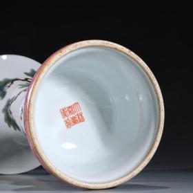 清代 粉彩「松竹梅」花觚摆件