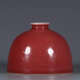 清康熙年间霁红釉团花纹太白尊