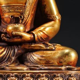 铜鎏金持钵佛坐像