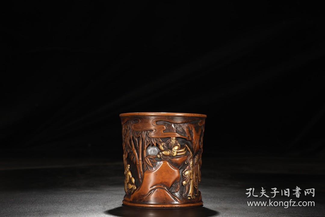 精铸铜胎鎏金人物故事图笔筒