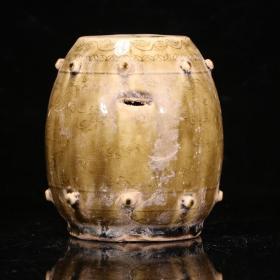 旧藏,青瓷鼓形绣墩摆件