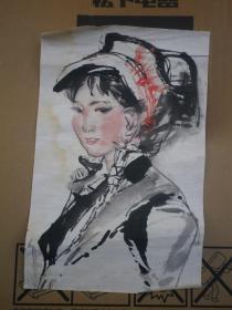 八十年代   女人物画    无款
