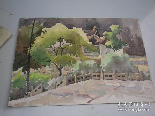 树.建筑 风景画