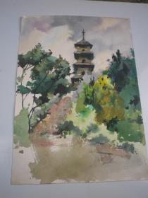 树.塔建筑 风景画