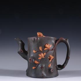 旧藏 裴石民款、老紫砂树桩壶
