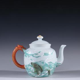 """回流 珐琅彩""""鱼跃图""""茶壶"""