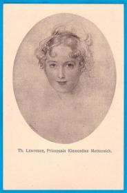 法国1916年【画家劳伦斯作品_梅特涅公主像】融刻版明信片