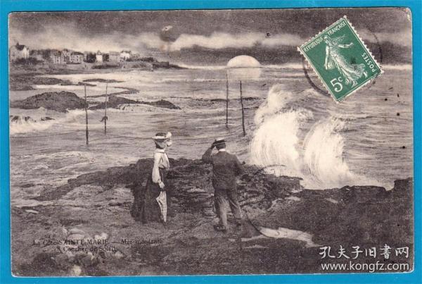 法国1905年【沙龙展作品_圣玛丽海岸日出】实寄明信片