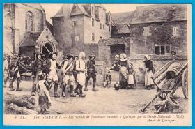 法国1913年【画家杰拉尔德作品_叛军被带回坎贝尔】明信片