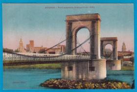 法国1910年【阿维尼翁_1809年的吊桥】上色版明信片
