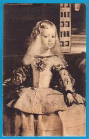 西班牙1930年【画家委拉斯凯兹作品_宫女局部】实寄明信片