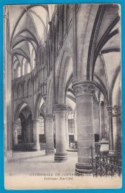 法国1909年【库唐斯大教堂_底层廊柱大厅】明信片