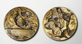 沈阳造币厂2015年45mm琴圣纪念章 琴圣小铜章 琴圣伯牙 高山流水