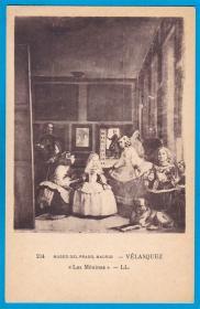 法国1913年【画家委拉斯凯兹作品_宫女】明信片