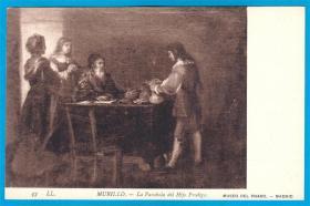 法国1909年【画家牟里罗作品_浪子的故事】明信片