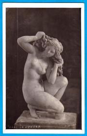 意大利1905年【馆藏古希腊雕塑_沐浴的维纳斯】明信片