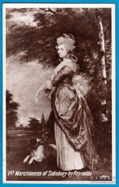 英国1922年【画家雷诺兹作品_索尔兹伯里侯爵夫人】明信片